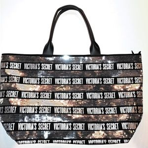Victoria's Secret Black Silver Sequin Logo Tote